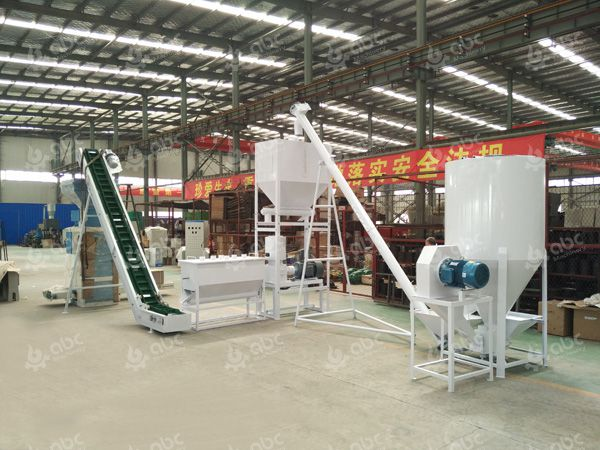 800-1000kg/h poultry feed mill plant