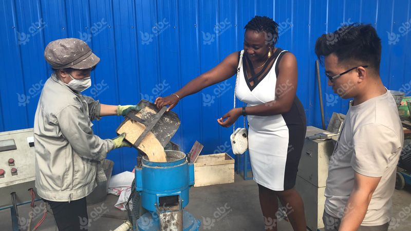 Nigerian client visiting pig feed pellet machine
